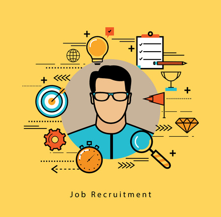 career management: Line flat vector business design and infographic elements for job candidate evaluation, interviewing, assessment, recruiting, resources and corporate management, hiring, employment, career concept