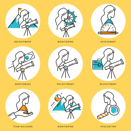 team building: Stroke line icons set for job recruitment and evaluation. Corporate management flat linear pictogram pack. Team building and assessment outline symbol collection and infographic elements vector design