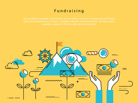 business savings: Line flat vector business design and infographic elements for fundraising and donation, design for investment, profit, savings, crowdfunding concepts, financial management, banking and money