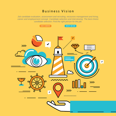 vision mission: Flat line modern corporate business vector illustration design and infographic elements for strategic planning, company vision statement, business mission, goals management and leadership concept Illustration