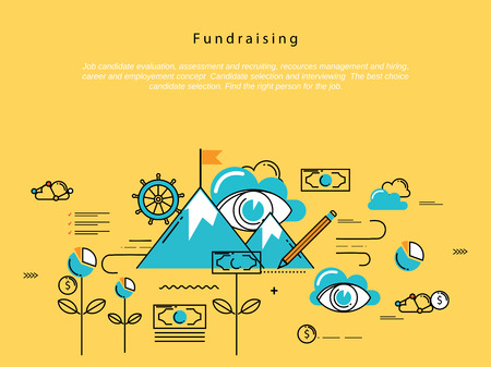 crowdsource: Line flat vector business design and infographic elements for fundraising and donation, design for investment, profit, savings, crowdfunding concepts, financial management, banking and money