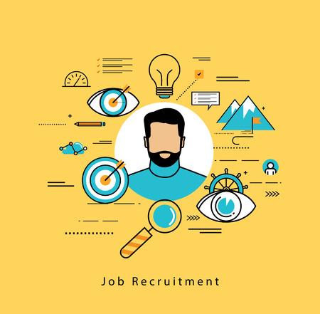 recursos humanos: diseño de la línea de negocios de vectores plana y elementos de Infografía de evaluación de candidatos de trabajo, entrevistas, evaluación, reclutamiento, los recursos y la gestión empresarial, la contratación, el empleo, el concepto de carrera Vectores