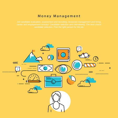 crowdsource: Flat line corporate business vector illustration design and infographic elements for money management, financial planning and accounting, investment, finance, banking, profit and savings concept Illustration