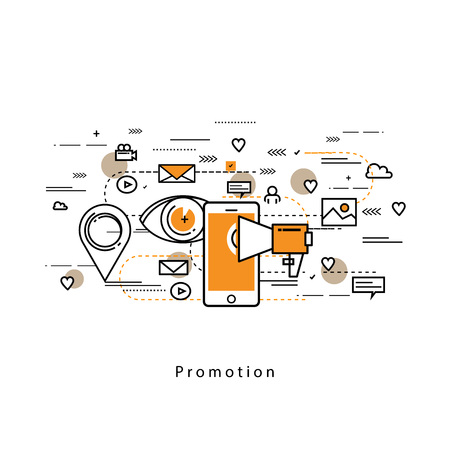 contents: Flat line modern corporate business vector illustration design and infographic elements for online social media marketing campaigns, digital promotion, internet, web advertising and content management