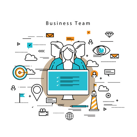 team building: Line flat vector business design and infographic elements for team building and career concept, job recruitment, evaluation, interviewing, assessment, hiring, resources and corporate management
