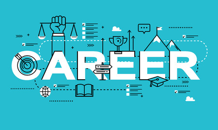career management: Word CAREER, line flat vector business design for job candidate evaluation, interviewing, assessment, recruiting. Resources and corporate management, hiring, employment, freelance, jobs,career concept Illustration