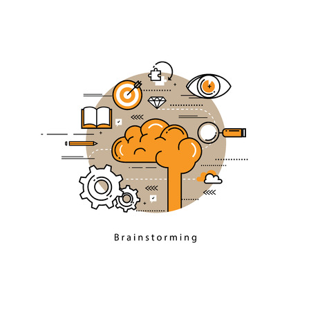 brainstorming: Brainstorming and analysis flat line business vector illustration design banner. Creative thinking process, education and research background. Design for learning, problem solving, trainings, courses