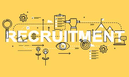 Parole RECRUTEMENT, vecteur plat ligne conception d'affaires pour l'évaluation du candidat à l'emploi, les entrevues, l'évaluation, le recrutement. Ressources et gestion d'entreprise, l'embauche, l'emploi, la pige, le concept de carrière