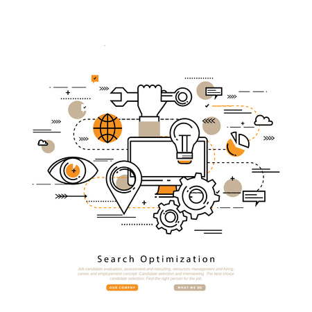 search searching: Search engine optimization flat line business vector illustration design banner, SEO background. Application development, web site coding, internet searching optimization, mobile technologies concept Illustration