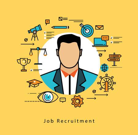 직업 후보자 평가, 인터뷰, 평가, 모집을위한 라인 플랫 벡터 비즈니스 디자인. 자원 및 기업 경영, 채용, 고용, 프리랜서, 직업, 경력, 비즈니스 개념 스톡 콘텐츠 - 64418279
