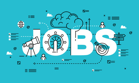 Word JOBS, line flat vector business design for job candidate evaluation, interviewing, assessment, recruiting. Resources and corporate management, hiring, employment, freelance, jobs,career concept Illustration