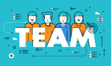 team building: Line flat vector business design for team building, job candidate evaluation, assessment, recruiting, interviewing. Resources and corporate management, hiring, employment, jobs, career concept