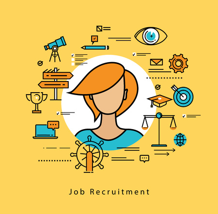 career management: Line flat vector business design for job candidate evaluation, interviewing, assessment, recruiting. Resources and corporate management, hiring, employment, freelance, jobs,career, business concept Illustration
