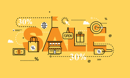 internet sale: Word SALE for website banners. Flat line business illustration design and infographic elements for shopping, e-commerce services, promotions, discounts, sale, internet and online sale Illustration