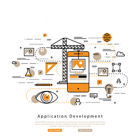 Application development flat line business illustration design banner, software API prototyping and testing background. Smartphone interface building process, website coding concept Illustration