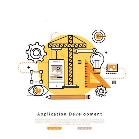 api: Application development flat line business illustration design banner, software API prototyping and testing background. Smartphone interface building process, website coding concept Illustration