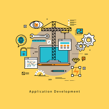 prototyping: Application development flat line business illustration design banner, software API prototyping and testing background. Smartphone interface building process, website coding concept Illustration