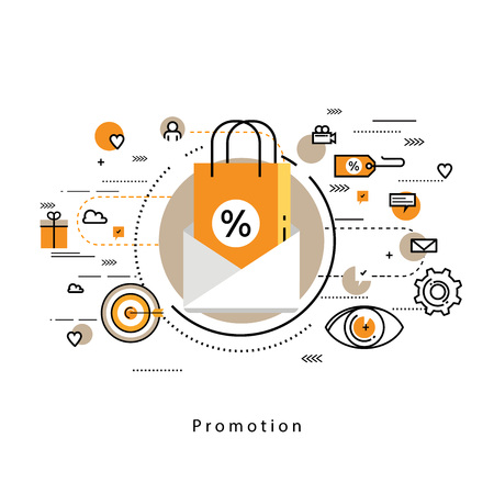 internet sale: Flat line modern corporate business illustration design and infographic elements for shopping, e-commerce, m-commerce services, digital promotion, discounts, sale, internet and online shopping