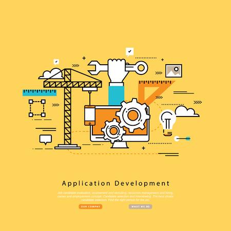 software design: Application development flat line business illustration design banner, software API prototyping and testing background. Smartphone interface building process, website coding concept Illustration
