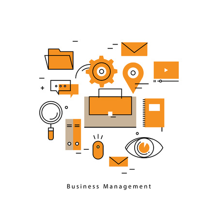 career management: Business management, business process, analysis, planning, strategy, business success flat line illustration design banner. Career opportunity and leadership concept for mobile and web graphics
