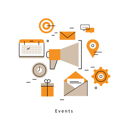 Promotion, planning events, marketing campaigns, calendar, organization flat line business illustration design banner. Advertising concept for mobile and web graphics