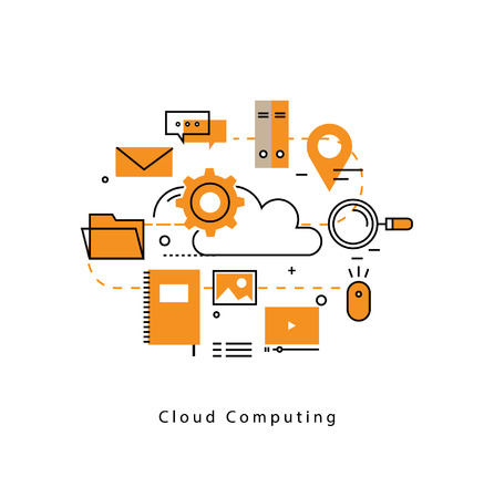 computing: Cloud computing and networking technology, cloud platform and database analytics, hosting service flat line business illustration design banner. Cloud technology for mobile and web graphics Illustration