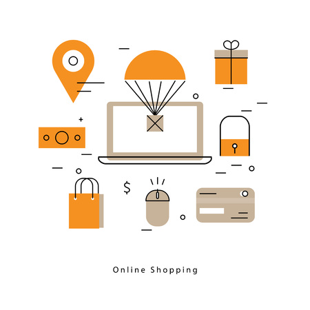 Online shopping and promotions flat line business vector illustration design banner. Concepts for online order and payment, e-commerce, delivery process, purchasing online for mobile and web graphics Illustration