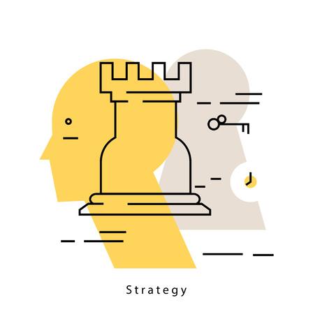 Strategic planning flat line business vector illustration design banner. Analysis, problem solving background. Business startegy design for for mobile and web graphics