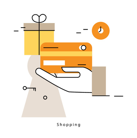 web shopping: Online shopping and promotions flat line business vector illustration design banner. Concepts for online order and payment, e-commerce, delivery process, purchasing online for mobile and web graphics Illustration