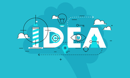 business idea: Word idea business vector illustration design banner. Creative thinking, analysis, education, research, business idea background. Design for learning and problem solving for mobile and web graphics Illustration