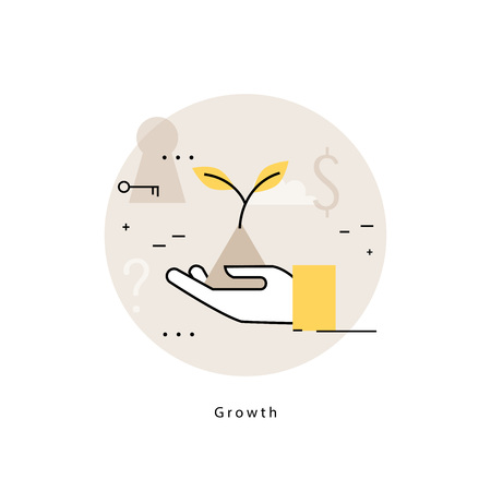 visionary: Growing plat icon for business development, strategic planning and business strategy. Flat line business vector illustration banner for mobile and web graphics
