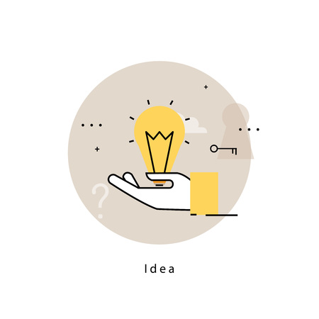 Light bulb icon for idea, brainstorming, creative thinking, analysis, education, research, learning, trainings, courses. Flat line business vector illustration banner for mobile and web graphics Illustration