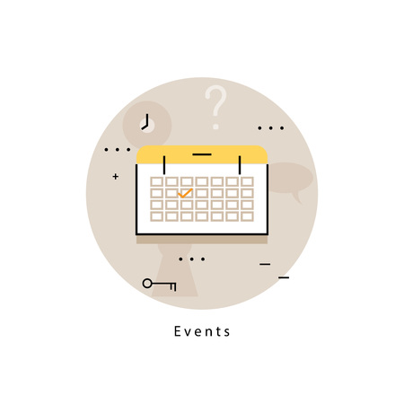 business time: Calendar icon for time management, planning and organizing events, business management, booking. Flat line business vector illustration banner for mobile and web graphics