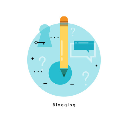 business news: Content management icon. Writing articles, news, internet blogging, consulting, copywriting flat line business vector illustration banner for mobile and web graphics