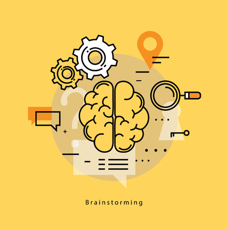 teachings: Brainstorming, creative thinking, analysis, education, research, learning, trainings, courses, business idea. Flat line business vector illustration banner for mobile and web graphics Illustration