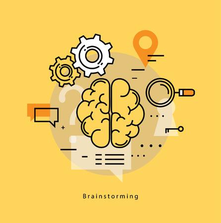 enseñanza: Brainstorming, pensamiento creativo, análisis, educación, investigación, aprendizaje, entrenamientos, cursos, idea de negocio. Línea plana negocio ilustración vectorial banner para móviles y gráficos web