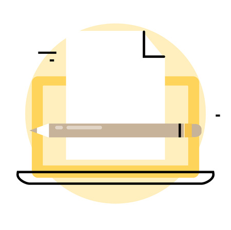 article writing: Blogging and creative writing icon. Content management, writing articles, news, internet blogging, consulting, copywriting flat line business vector illustration banner for mobile and web graphics Illustration