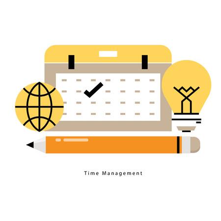 Time and business management, planning events, calendar, organization flat line business vector illustration