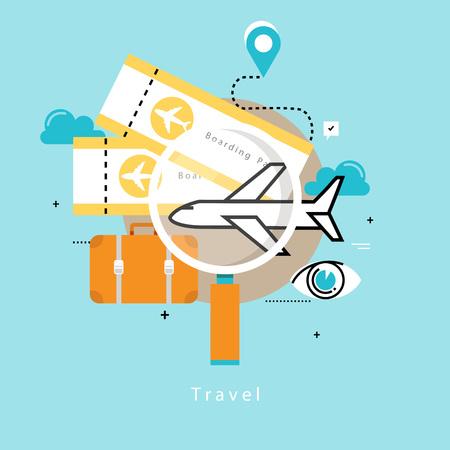 Viajar en avión, vacaciones de verano, viaje en avión, vacaciones ilustración vectorial plano de diseño. Viajes, planificación de viajes para móviles y gráficos web