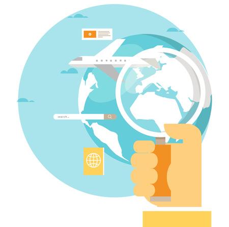 飛行機、夏休み、飛行機旅行、バケーション フラット ベクトル イラスト デザイン旅行  イラスト・ベクター素材