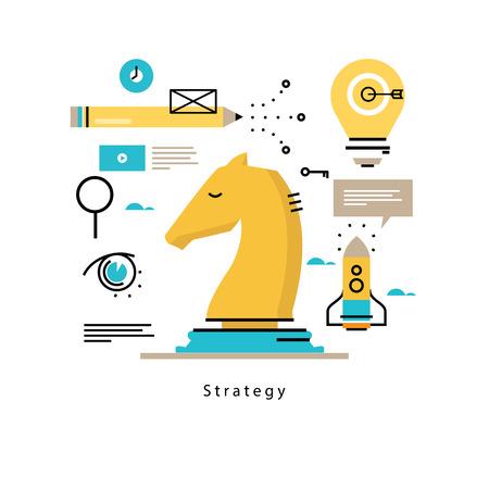 戦略的計画とビジネス戦略フラット ベクトル イラスト デザイン。ビジネス、リーダーシップ、携帯のビジネス管理の設計と web グラフィック成功