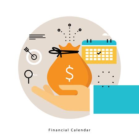 Finanzkalender, monatliches Budget, das flaches Vektorillustrationsdesign plant. Finanzplanung Design für mobile und Web-Grafiken