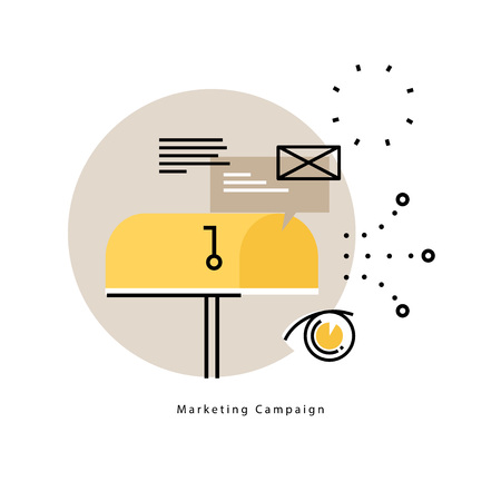 E-mail marketing, online advertising flat vector illustration design.