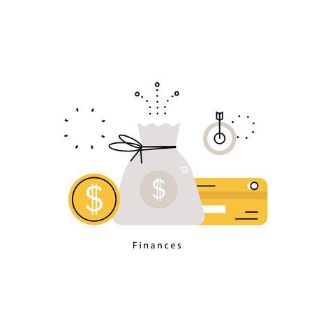 Pianificazione finanziaria, pianificazione del budget, banche, investimenti finanziari, business e finanza disegno di illustrazione vettoriale piatta per la grafica mobile e web Archivio Fotografico - 79928362