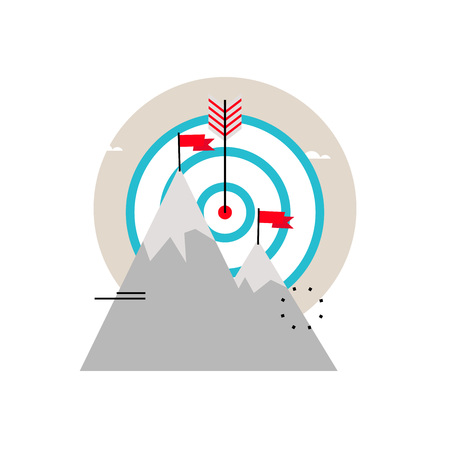 mountaineering: Business goals, company mission, progress in business, business objective flat vector illustration design for mobile and web graphics
