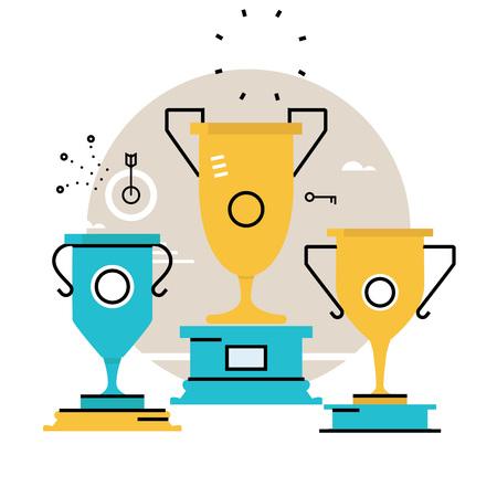 Kampioen van de concurrentie, beloning, bekerwinnaar, winnaar beker, zakelijk succes, leiderschap concept platte vector illustratie ontwerp voor mobiel en webafbeeldingen