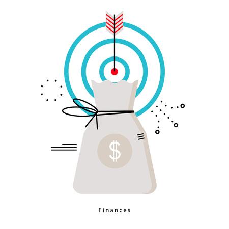 Pianificazione finanziaria, pianificazione del budget, banche, investimenti finanziari, business e finanza disegno di illustrazione vettoriale piatta per la grafica mobile e web Archivio Fotografico - 79928369