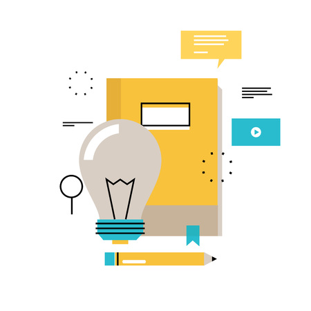 E-learning, online education flat vector illustration design. Distance education, online trainings, courses, internet studying, online book, tutorials design for mobile and web graphics Ilustração