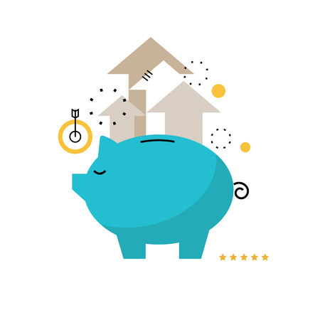 돼지 저금통 개념, 금융 투자, 예산 관리, 예금 계좌, 예금, 연금 기금 돈, 재무 계획 모바일 및 웹 그래픽 플랫 벡터 일러스트 레이 션 디자인