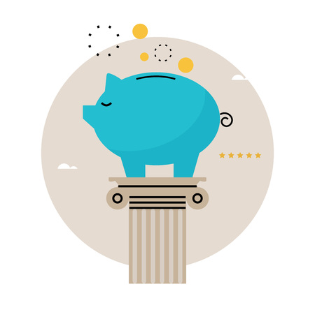 Piggy bank concept, financial investment, budget management, savings account, deposit, pension fund money, financial planning flat vector illustration design for mobile and web graphics Çizim